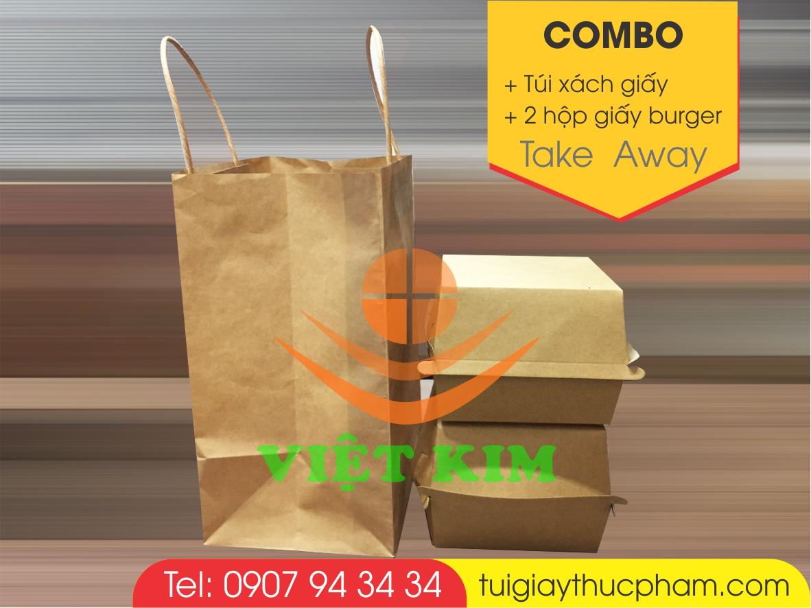 combo hộp burger-túi xách